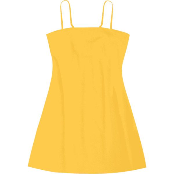 Tied Bowknot Back Mni Cami Dress ($18) ❤ liked on Polyvore featuring dresses, yellow cami, summer day dresses, tie dress, yellow dresses and camisole dress