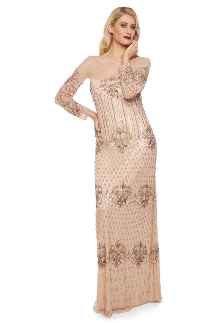 1920s Inspired Evening Maxi Dress in Champagne | Great Gatsby & Flapper Style Dresses | Art Deco & Roaring Twenties Gowns | Vintage | Gatsby Lady
