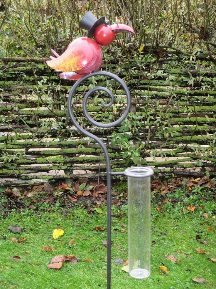 Regenmeter met rode vogel met hoed te koop bij www.robanjer.nl