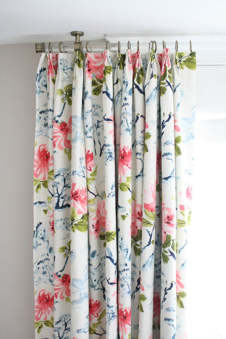 stunning floral curtains with pink peonies + indigo blue bonsai trees made by www.tonicliving.com (click for more info)