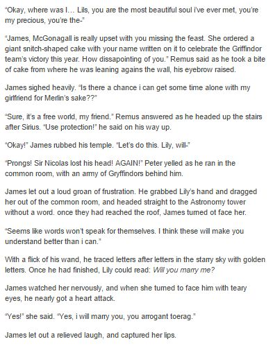 James and Lily part 2 - James trying to propose to Lily but each of the marauders getting in the way