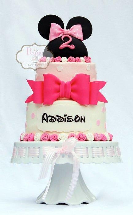Ribbon Rose Minnie Mouse Cake