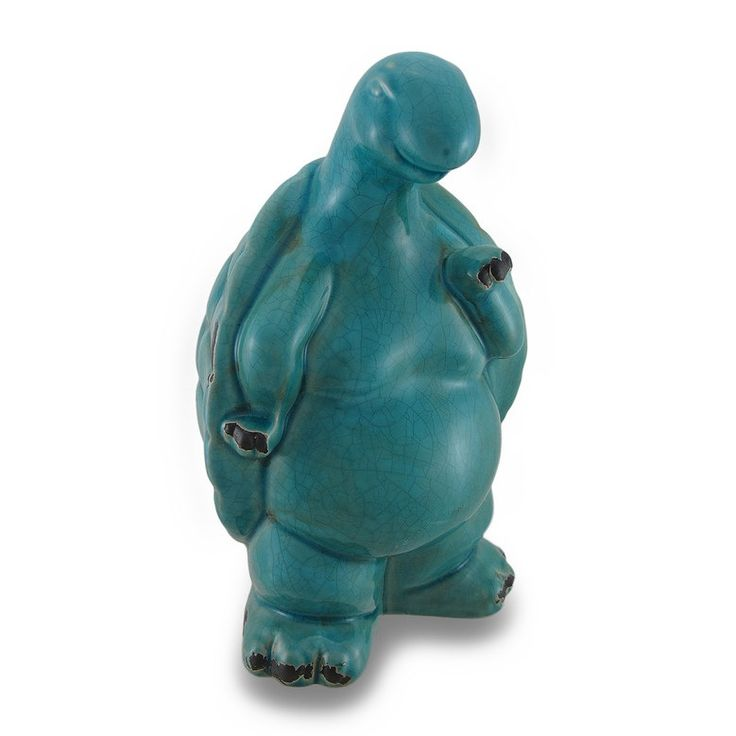Distressed Finish Ceramic Turtle Indoor / Outdoor Statue (Blue)