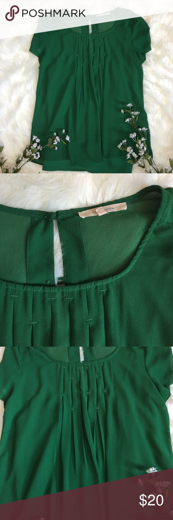 Stitch Fix pleated green short sleeve top sheer Sheer top, under shirt included and snaps into shirt, perfect condition Stitch Fix Tops Blouses