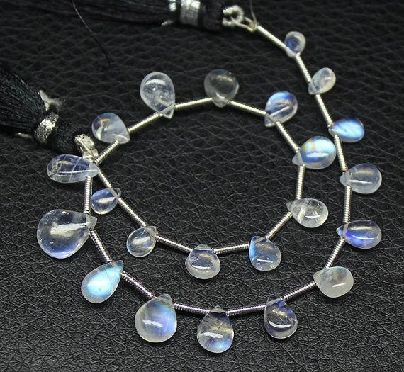 Natural Fire Rainbow Moonstone Smooth Pear Drop Beads Strand, – Jewels Exports
