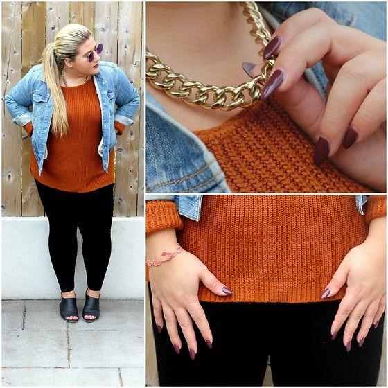 Get this look: http://lb.nu/look/7882170  More looks by Christina: http://lb.nu/bonafideblonde  Items in this look:  Target Burnt Orange Sweater, Gap Jean Jacket, Loft Black Ponte Leggings, Nine West Open Toe Booties, Aldo Gold Chain, Cruciani Crochet Bracelet   #fall #burntorange #fashion #everydaystyle #toronto #canada #plussize #casual