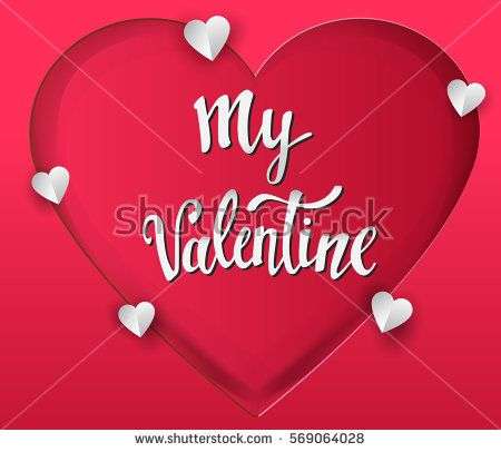 Happy valentines day vector greetings card lettering design with paper cut shape and heart