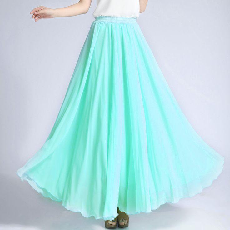 Light Turquoise Chiffon Maxi Skirt with Extra Wide Hem - Long Aqua ...