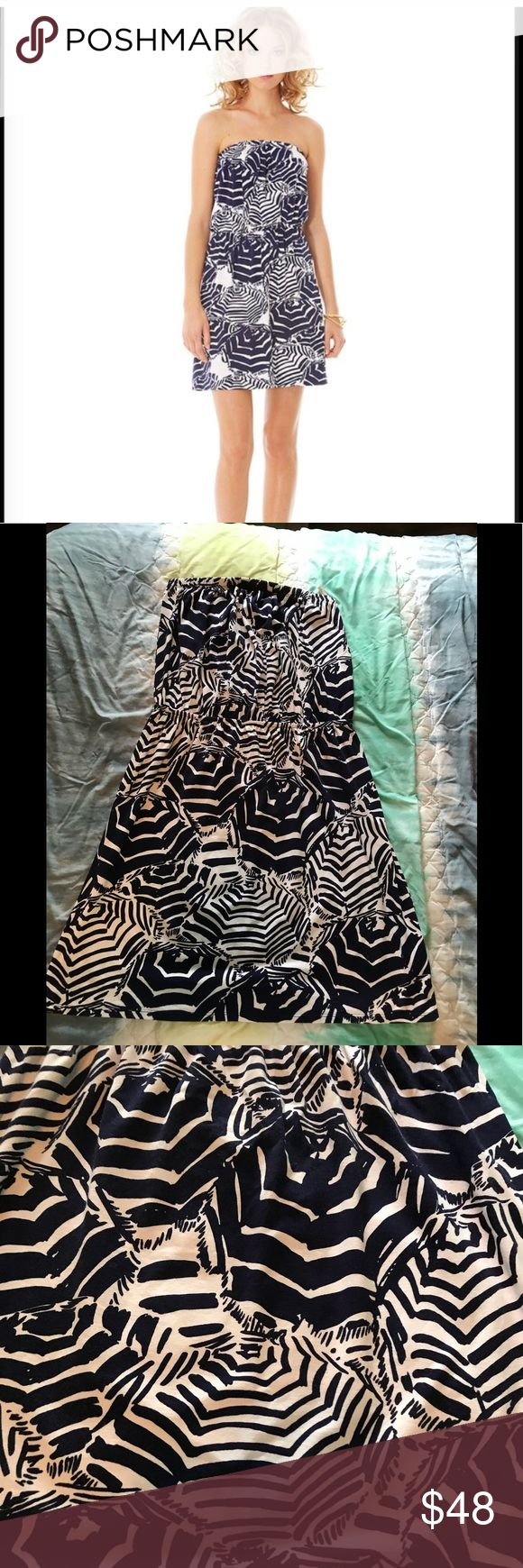 Lilly Pulitzer Lilly Pulitzer Atwood strapless dress in oh cabana boy in a size M. In excellent condition no fading stains or holes never put in dryer always hung dry . No trades I do take offers and bundle Lilly Pulitzer Dresses