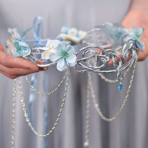Silver Elven Crown, White and Blue, Ocean Goddess Headpiece, Mermaid... ($148) ❤ liked on Polyvore featuring costumes, mermaid halloween costume, bridal costume, silver halloween costume, mermaid costume and bride halloween costume