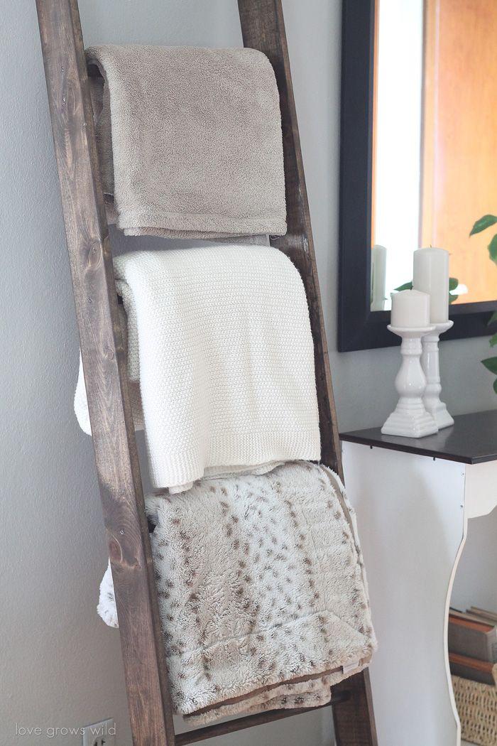 Learn how to make a DIY Blanket Ladder!   LoveGrowsWild.com