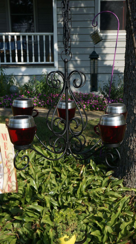 32 best my outdoor garden art images on pinterest garden art outdoor solar chandelier painted an old rusty chandelier black with rustoleum spray paint arubaitofo Gallery