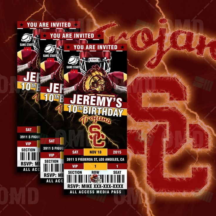 "2.5x6"" USC Sports Party Invitation, Sports Tickets Invites, University of Southern California Football Birthday Theme Party Template by sportsinvites on Etsy"