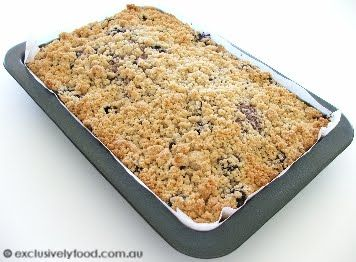 Exclusively Food: Apple and Blueberry Crumble Cake Recipe