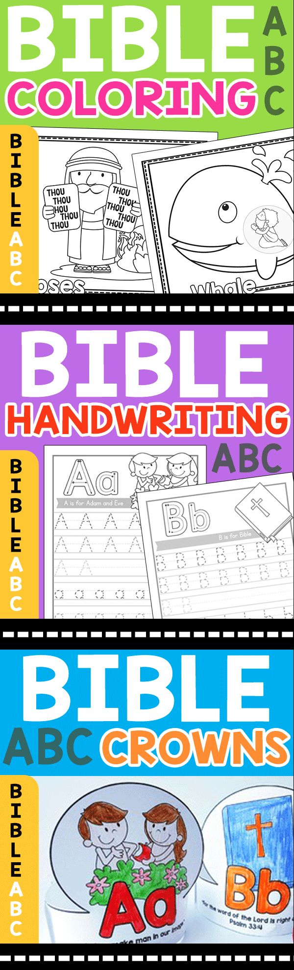 Bible Coloring Pages, Bible Handwriting Worksheets, Bible Crowns, Bible Charts, Bible Flashcards, Bible ABC and so much more!!