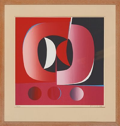 GUNNAR S. GUNDERSEN FORDE 1921 - BÆRUM 1983  Composition in red and pink, 1969  Fargeserigrafi, 356/350. 49x49 cm  Signed and dated lower right: Gunnar S. -69