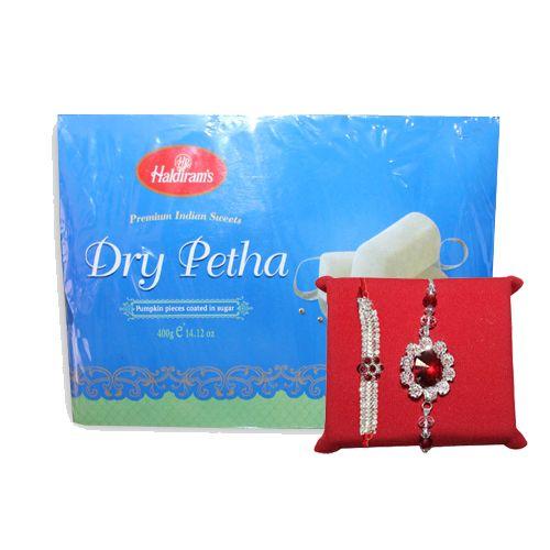 Online Indian White or Red Stone designer Rakhi at Handicrunch