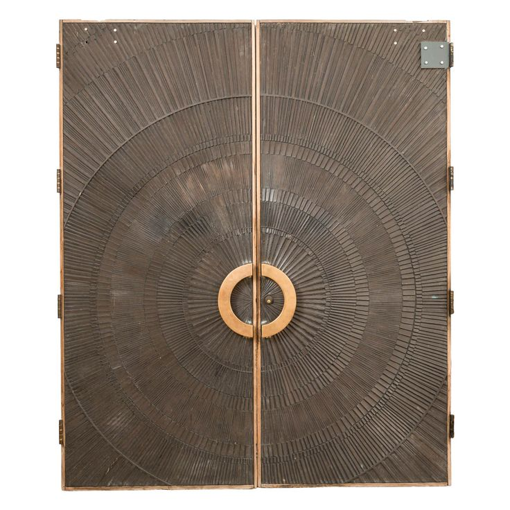"""Forms+Surfaces Heroic Sunburst Double Doors   black and gold 2200 15th Street, San Francisco, CA94114 Phone: 415-658-7707 - 8"""" too big"""
