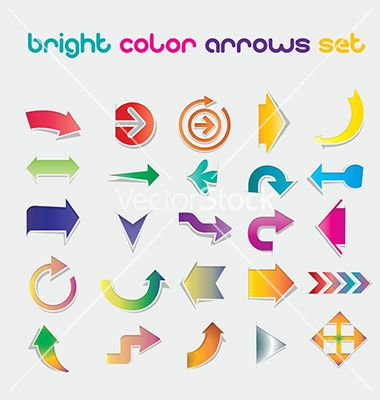 Brigt color arrows set vector Brigt Color Arrows Set easy to use in all templates, resizeable, bright color, in 25 diffrend shapes and colors