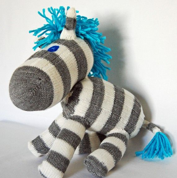 I love that they have made the zebra from 'Sock and Glove' with blue hair!!!! What a greta idea!