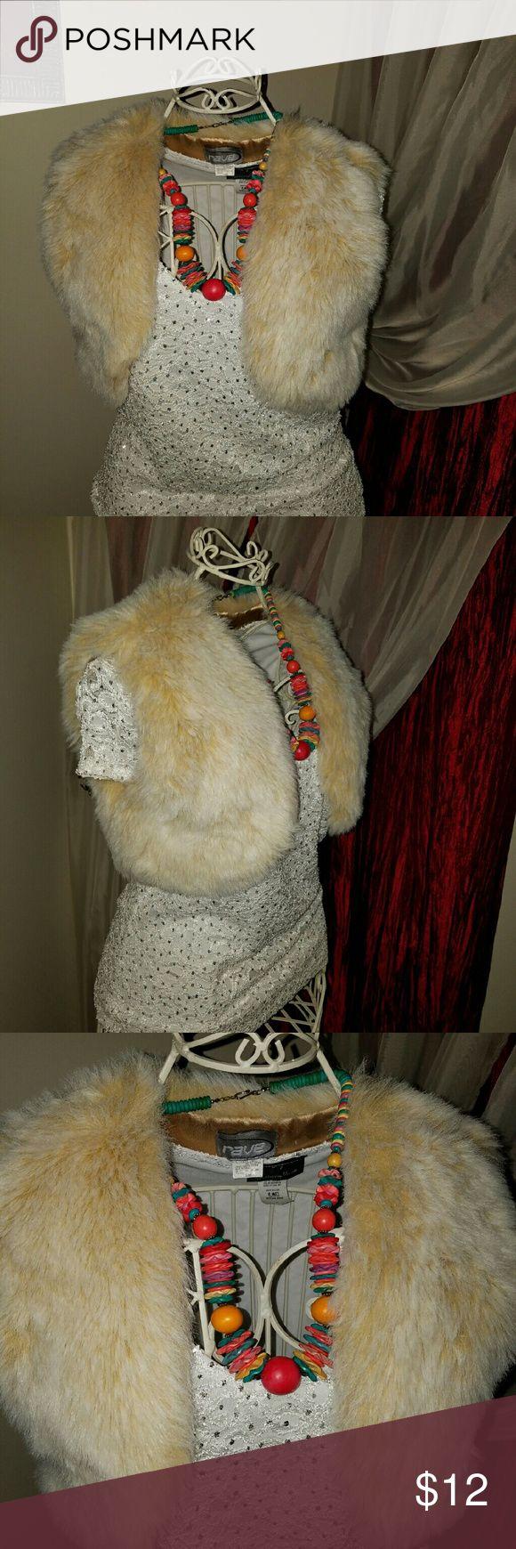 Rave s/m faux  fur shrug Excellent used condition rave Accessories Scarves & Wraps