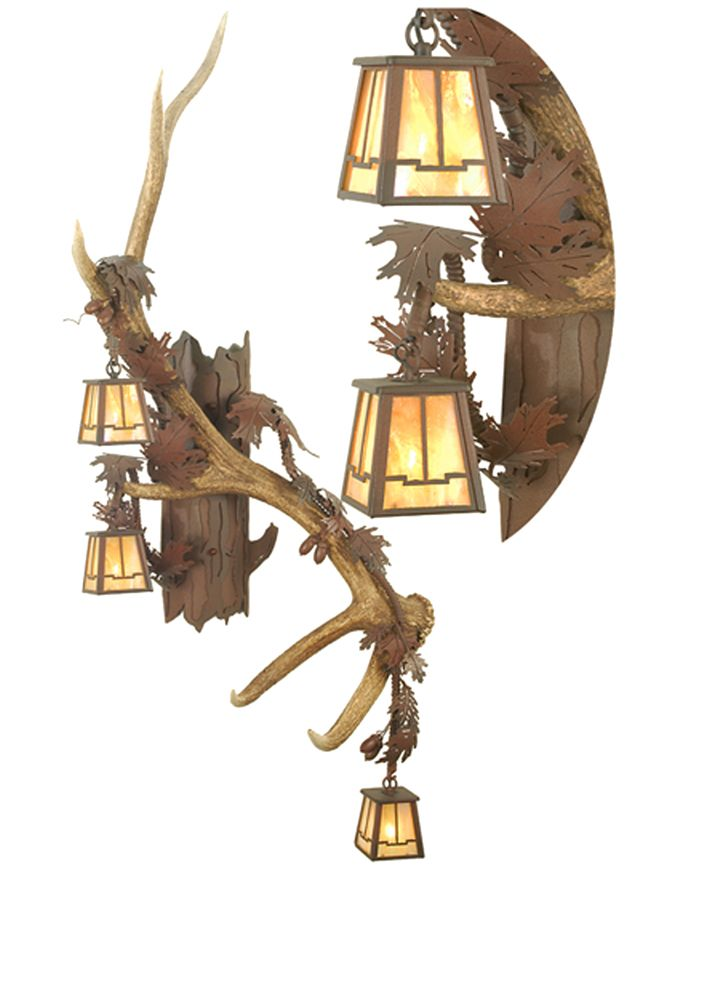 rustic lodge art glass animals 26 inch antlers elk vertical wall sconce by meyda lighting