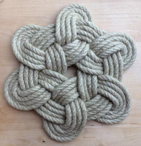 Marine Rope Mat Decoration Hemp Souvenir From Brittany Etsy Marine Rope Gift Containers Vintage Gifts