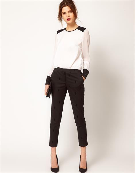 Узкие укороченные брюки по щиколотку