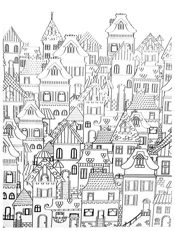 coloriage des façades - when I get ambitious for a houses appliqué quilt