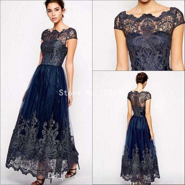 Azul marino lf2739 madre de la novia viste diseñadores pura cuello de encaje hasta los tobillos apliques madres vestidos para la playa bodas HH320