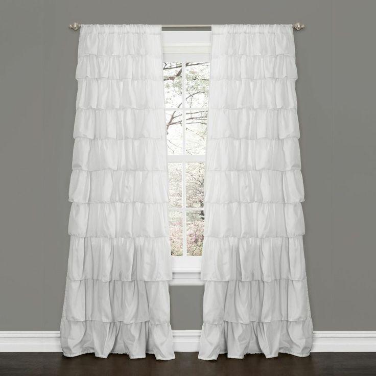 White 100 Polyester Large Waterfall Ruffle Blackout Curtain