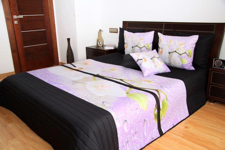 Čierno - ružový prehoz na posteľ s kvetmi