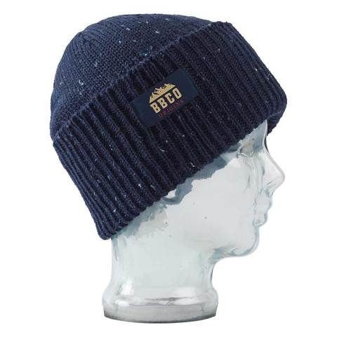 Big Balls Collective, BBCO, Navy Wool beanie. A stylish Fisherman style warm winter wooly hat for the slopes, hiking or for venturing out to town in the cold.