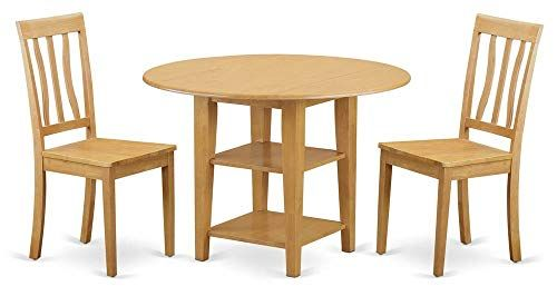 East West Furniture Dining Table With Chair In Oak Solid Wood Dining Set Furniture Dining Table Dining Table In Kitchen