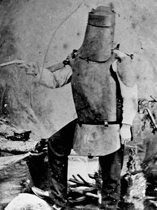 An early image of bushranger Ned Kelly in his armour suit. Picture: NSW Justice & Police Museum.