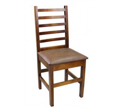 Cadeira Fixa Firenze Madeira Mel Assento Marrom Móveis Paraná