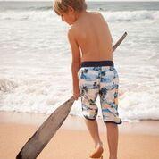 Boys board shorts, Retro Hawaiian print.