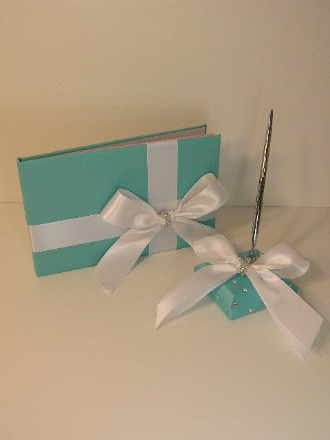 Tiffany Blue Wedding Guest Book and pen holder by bwithustudio, $63.00