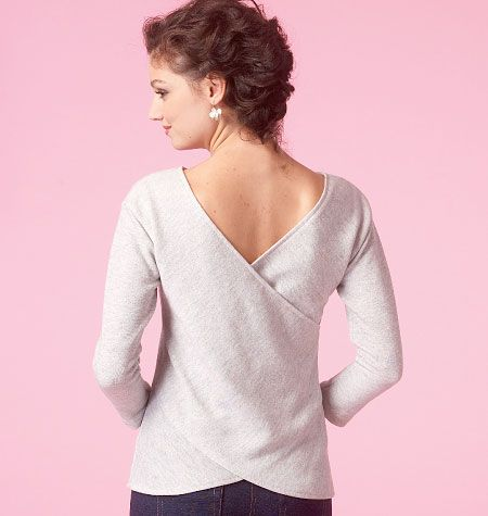 This is the easy knit top sewing pattern you've been looking for! Love the back interest. McCall's M7127, Misses' Tops