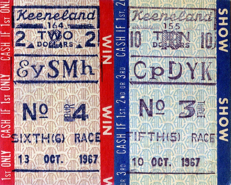 Vintage racing tickets #derby #keeneland