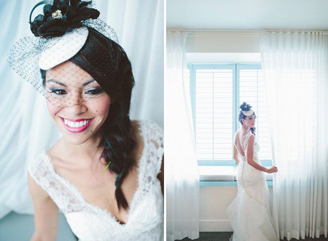 A wedding dress and a black & white birdcaige veil.  A different style!