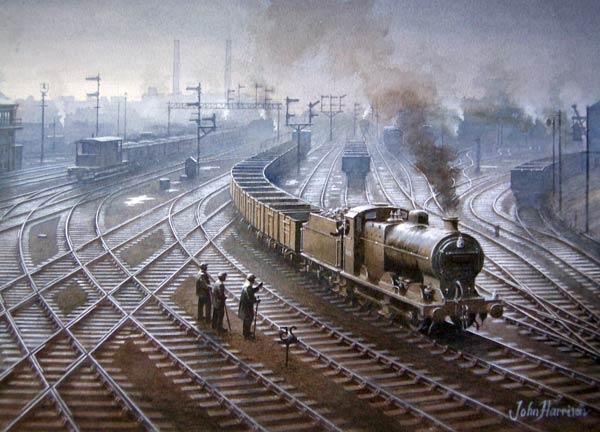 """Steam Railway Painting, """"A Wet Day in Wigan"""",,16"""