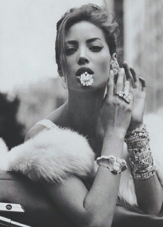 "Christy Turlington in ""La Dolce Vita"" by Steven Meisel for Vogue, December 1989."