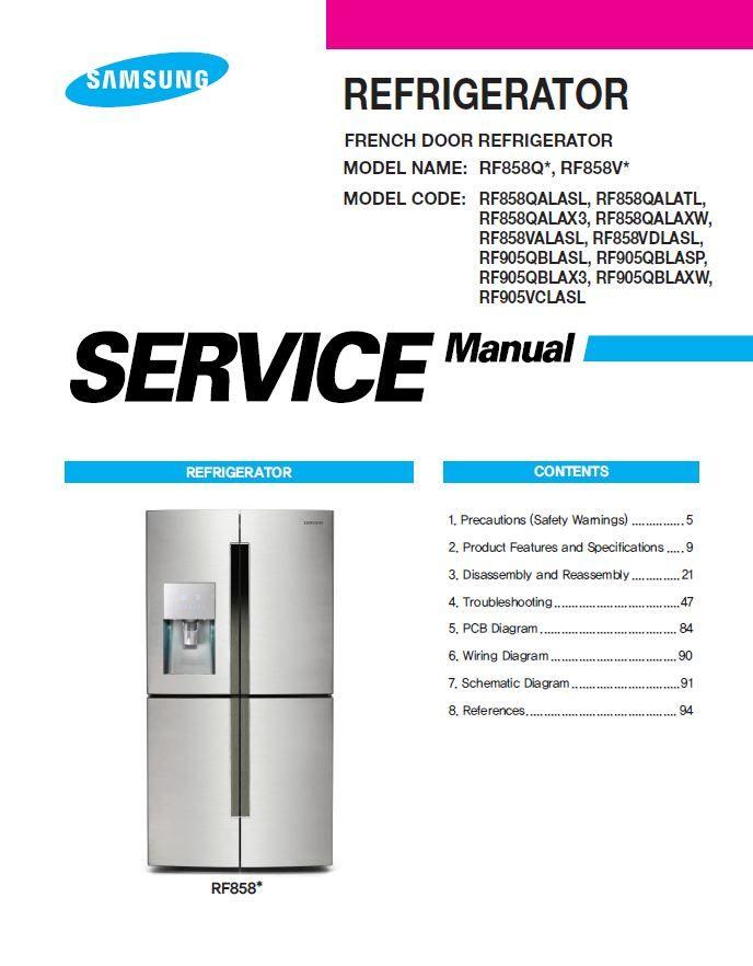 Samsung Rf858valasl Rf858vdlasl Refrigerator Service Manual Refrigerator Service Samsung Manual