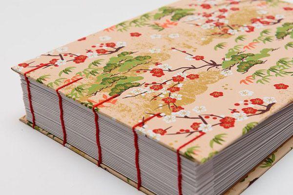 Encuadernacion japonesa: portada con papel chiyogami