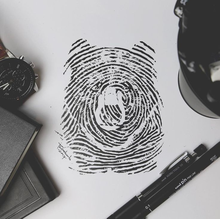 Bear Fingerprint. Doodle Drawings make the World go Round. By Joseph Catimbang