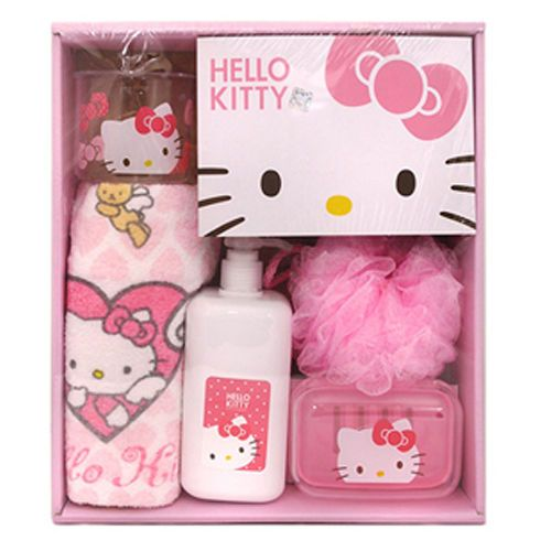 Awesome Hello Kitty Bath Set Kit Shower Ball Cup Empty Bottle Towel Soap Case Pink  Cute #