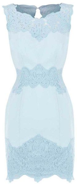 Karen Millen Heavy Cotton Lace Collection Dress in Blue (aqua) | Lyst