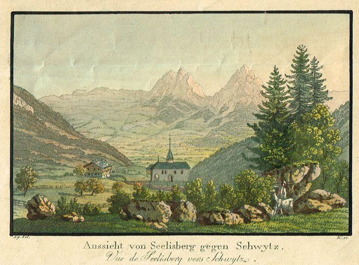Aussicht von Seelisberg gegen Schwytz - Vue de Seelisberg vers Schwytz - Aquatinte XIXe - MAS Estampes Anciennes - MAS Antique Prints