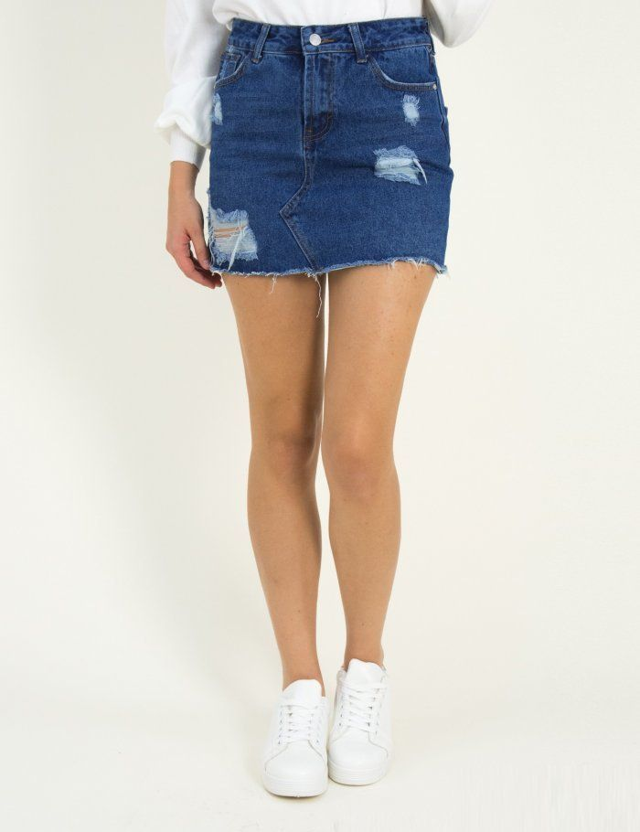 bec299c75a54 Γυναικεία μπλε τζιν μίνι φούστα με σκισίματα ITA9006  torouxo  torouxo   fousta  skirt  φθινοπωρινά